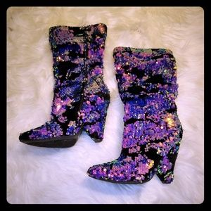 Iridescent colored sequined boots.